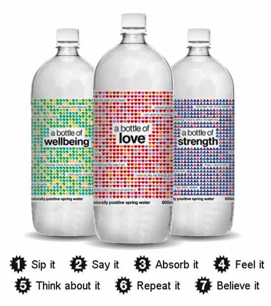 оригинальная водная идея: Позитивные аффирмации в рекламе воды