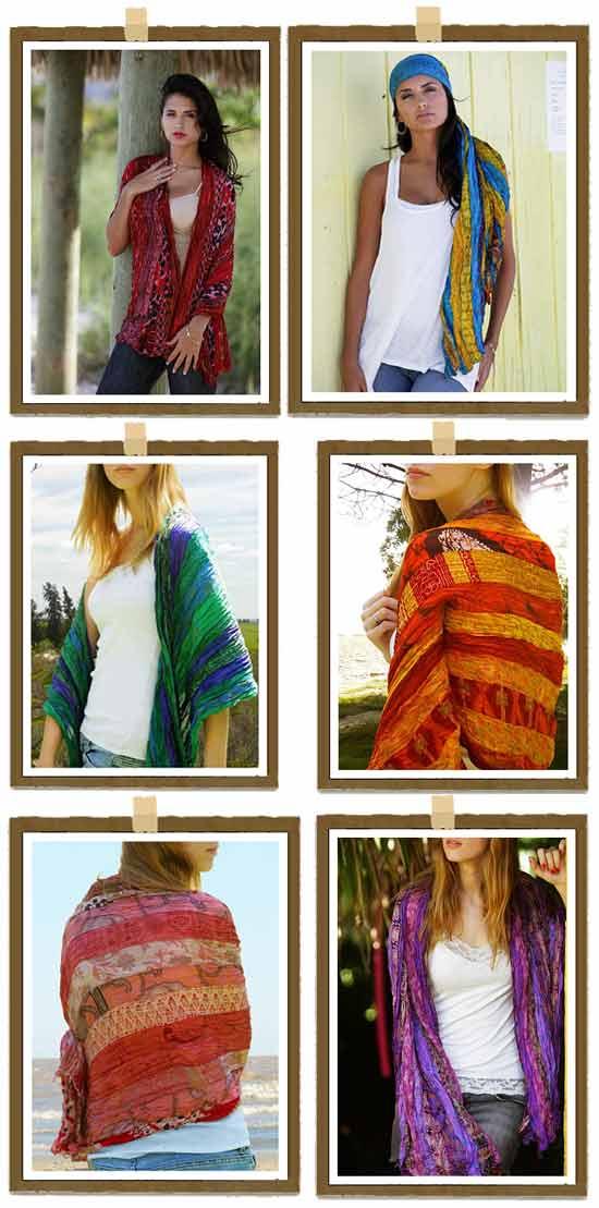 Оригинальные идеи в модном бизнесе: Шарфы из винтажных сари