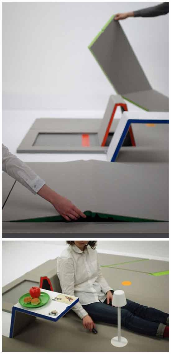 Напольное покрытие, трансформирующееся в мебель
