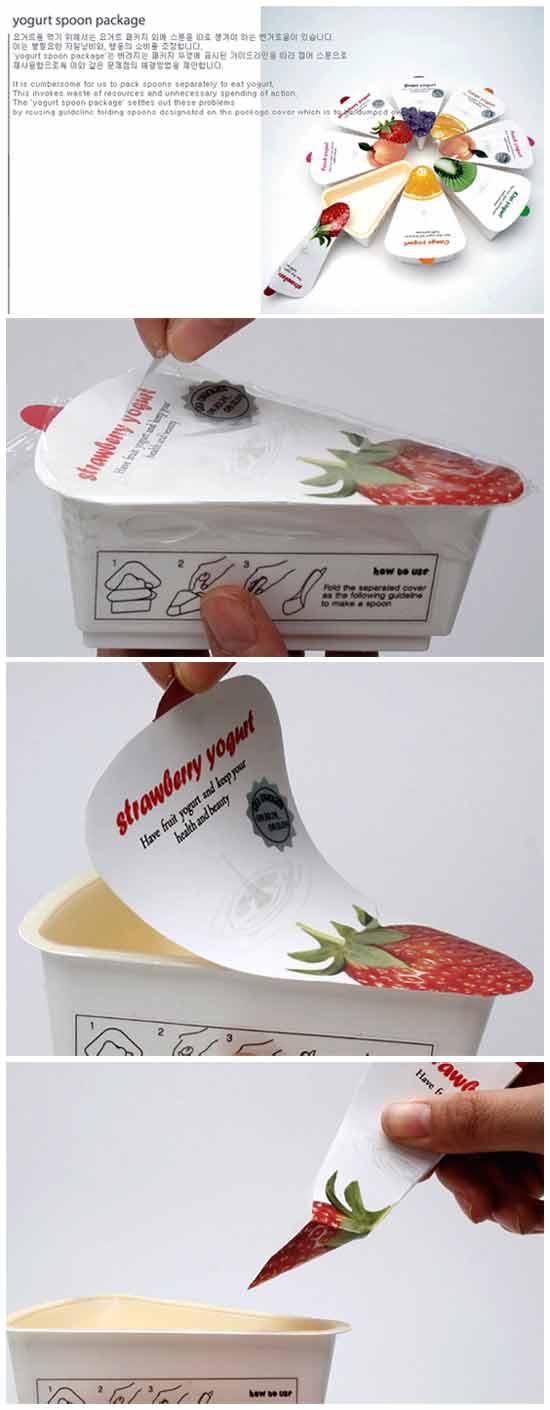 Упаковка с ложкой для йогурта