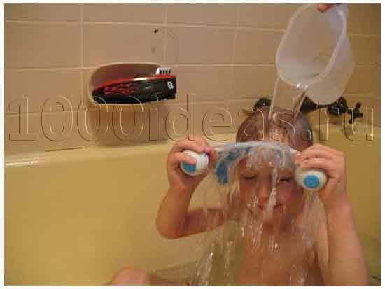 Защита от попадания воды в глаза малышей при купании