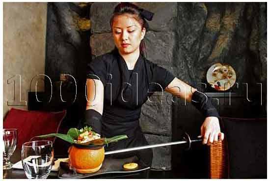 Необычная идея ресторана: Ниндзя-ресторан