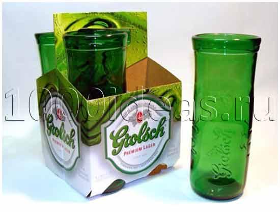 идеи экологических проектов: Стаканы из использованных бутылок