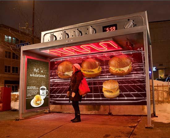 Креативная реклама кафе на остановках от рекламного агентства Colle+McVoy вызвала бурю восторга и «теплых чувств»