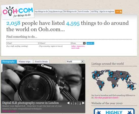 Сайт интересных занятий ooh.com – это необычный сайт, своего рода онлайн-доска объявлений, где каждый может бесплатно разместить свое предложение об интересном занятии, хобби.