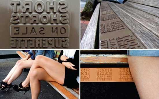 Сотрудники рекламного агентства DDB Auckland из Новой Зеландии придумали способ как модернизировать рекламные скамейки — они встроили в сидения специальные формы-оттиски.