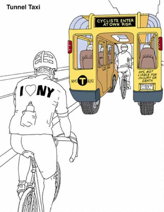 Такси будущего - Tunnel Taxi, тоннельное такси создает ту самую дополнительную полосу для безопасного движения велосипедистов и владельцев мотоциклов.