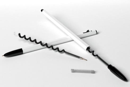 В Германии было придумано гениальное решение распространенной проблеме – малому сроку службы обычных чернильных стержней - шариковая ручка со спиралевидным стержнем,  T&T Pen-Ink Chamber