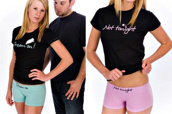 В Англии была выпущена линия нижнего белья для подростков «анти секс» с целью распространения идеи отказа от раннего секса при помощи надписей на белье типа «застегни обратно» или «не этой ночью».