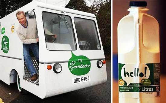 Английской компании Green Bottle (Зеленая бутылка) из Саффолка  принадлежит изобретение экологичной бумажной бутылки для молока, как альтернативы традиционным стеклянным и пластмассовым бутылкам.