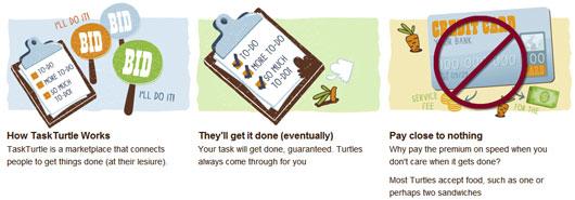 Сайт подработки для бездомных TaskTurtle был запущен в тестовом режиме в сентябре 2011 года и вряд ли станет столь же популярным, как сайт мелких поручений TaskRabbit.