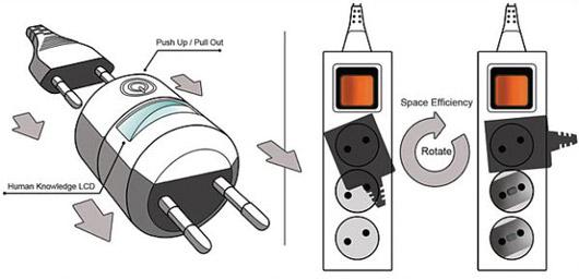 Необычная энергосберегающая розетка помогает избежать излишней потери электроэнергии за счет сокращения количества всевозможных шнуров и кабелей от используемой нами техники.
