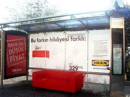 Необычная реклама на автобусной остановке от Ikea