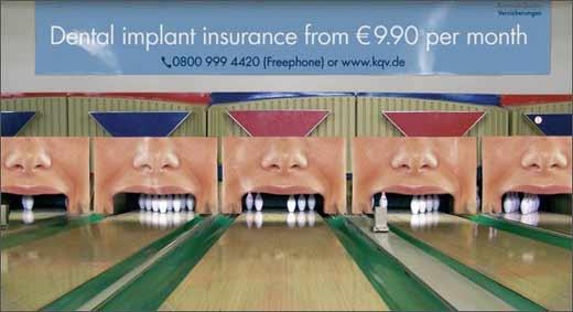 Рекламы стоматологической клиники в боулинге