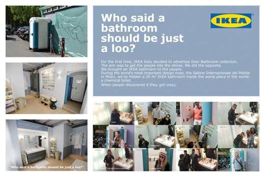 Необычная реклама новой коллекции мебели для ванных комнат от Ikea