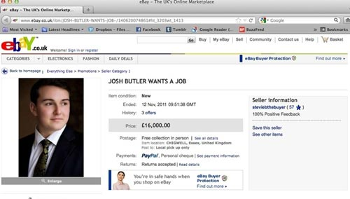 Резюме с объявлением о поиске работы на сайте eBay