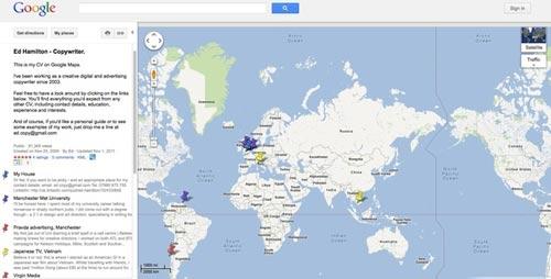 Креативное резюме на базе Google Maps