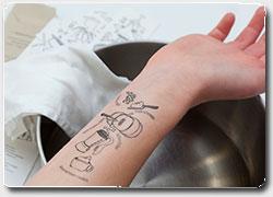 временная татуировка с рецептами блюд